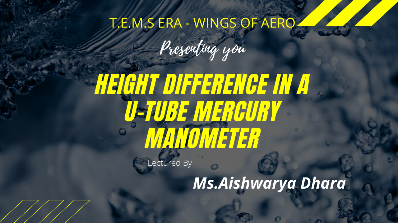 Height Difference In a U-Tube Mercury Manometer