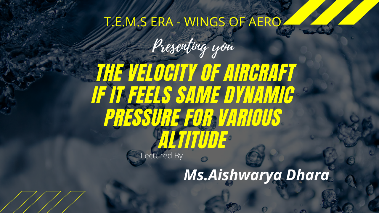 Velocity of Aircraft If It Feels Same Dynamic Pressure For Various Altitude