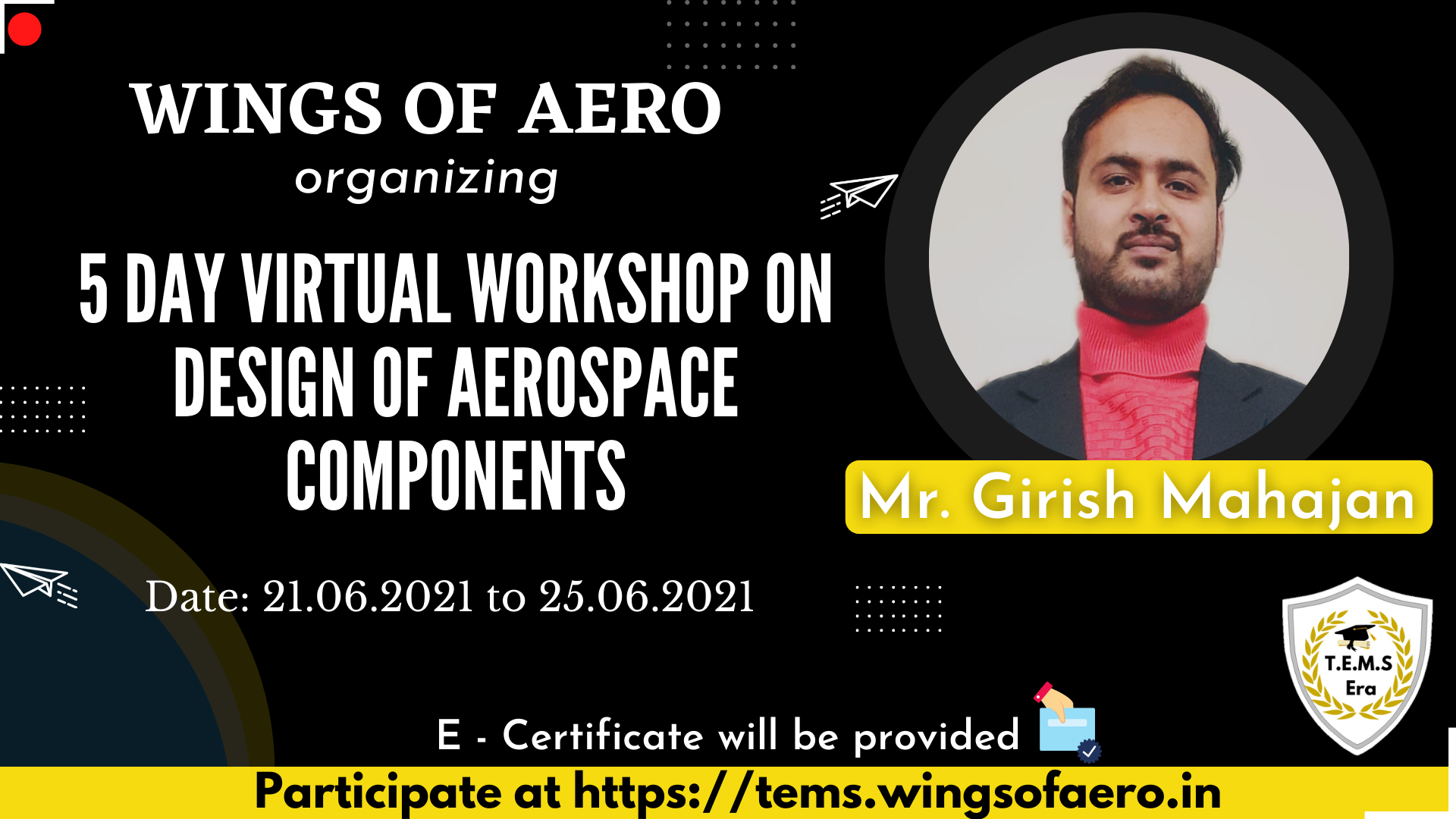 5 Day Virtual Workshop on Design of Aerospace Components
